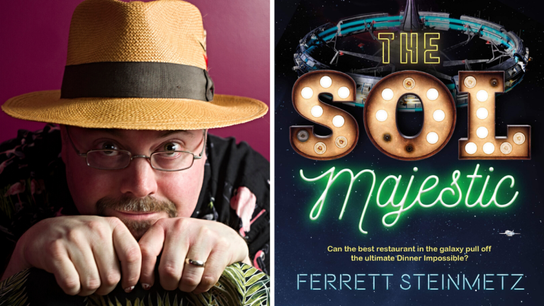 Author Ferrett Steinmetz and the cover of his book The Sol Majestic