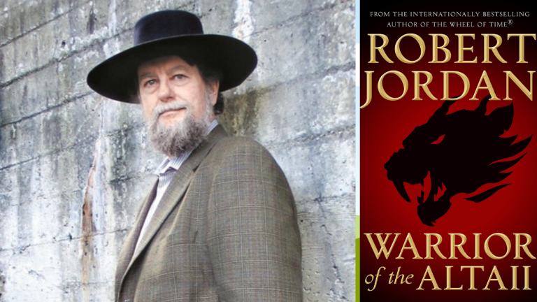 Fantasy Author Robert Jordan and the Cover of his Book Warrior of the Altaii