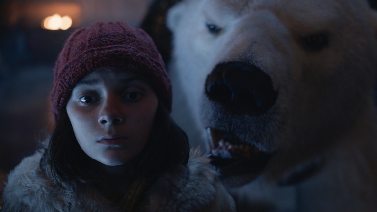 Lyra and an Armored Bear in His Dark Materials Episode 7