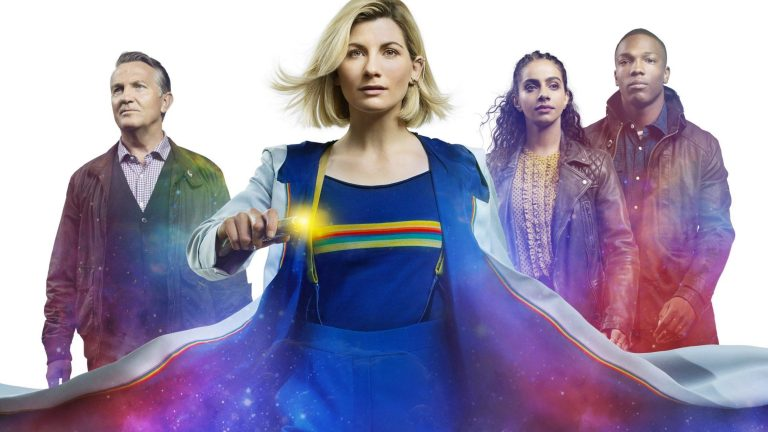 Bradley Walsh, Jodie Whittaker, Tosin Cole, and Mandip Gill on a Poster for Doctor Who Season 12