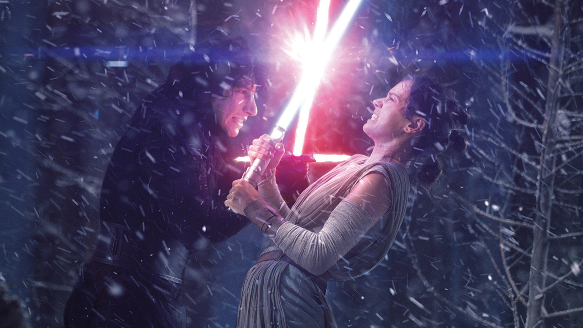 """Adam Driver as Kylo Ren (Left) and Daisy Ridley as Rey (right) in """"Star Wars: The Force Awakens"""" (2015)"""