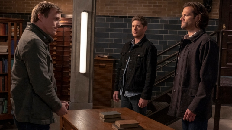Jake Abel as Adam/Michael, Jensen Ackles as Dean and Jared Padalecki as Sam in Supernatural Season 15 Episode 8