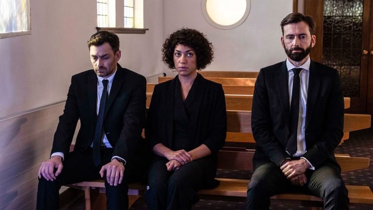 David Tennant, Cush Jumbo, Matthew McNulty in Deadwater Fell episode 2
