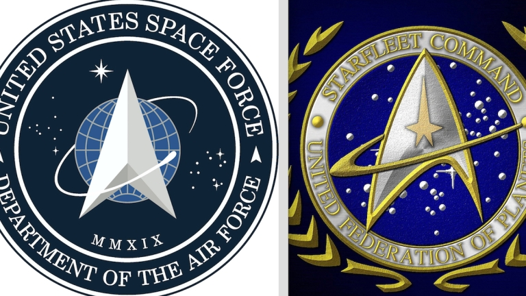 Star Trek and Space Force Logos side by side