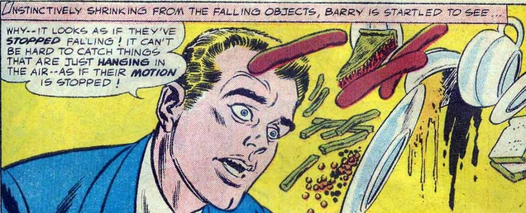 A panel from Showcase #4, the first appearance of Barry Allen in DC Comics