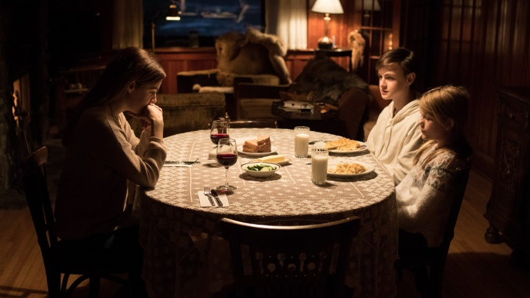Riley Keough, Jaeden Martell and Lia McHugh in The Lodge
