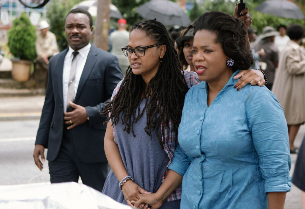 David Oyelowo (as Dr. Martin Luther King, Jr.) with Director/Executive Producer Ava DuVernay and Producer Oprah Winfrey (who also plays Annie Lee Cooper) on the set of SELMA