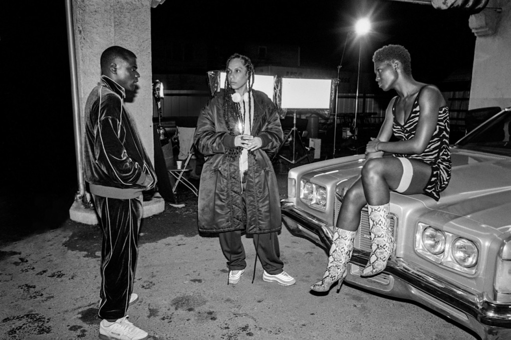 (from left) Daniel Kaluuya, director Melina Matsoukas and Jodie Turner-Smith on the set of Queen & Slim.