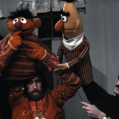Jim Henson, Frank Oz, Bert and Ernie on Sesame Street (1970)