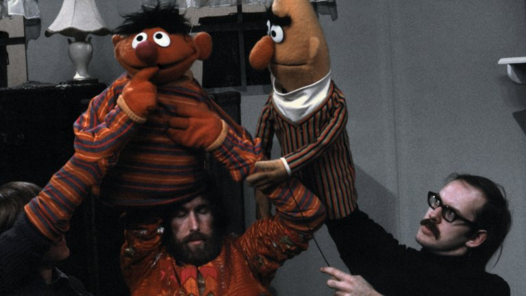 Jim Henson, Frank Oz, Bert and Ernie on Sesame Street (1970)