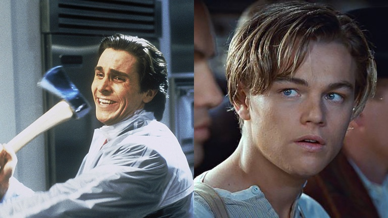 Christian Bale and Leonardo DiCaprio as Patrick Bateman in American Psycho