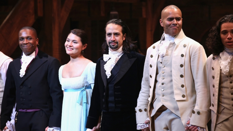 Christopher Jackson and Lin-Manuel Miranda in Hamilton