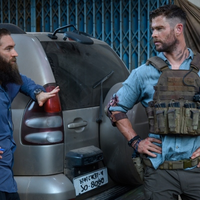 Sam Hargrave and Chris Hemsworth On the Set of Extraction