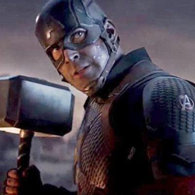 Captain America With Thor's Hammer in Avengers: Endgame
