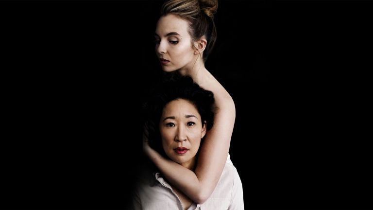 Jodie Comer as Villanelle and Sandra Oh as Eve in Killing Eve