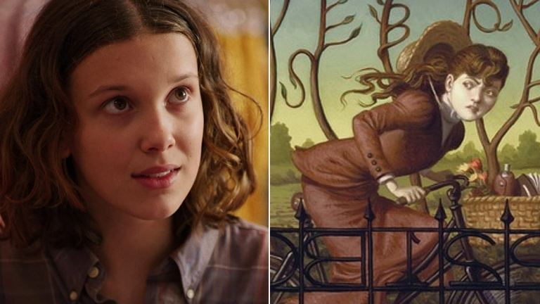 Millie Bobby Brown in Stranger Things, and The Case of the Missing Marquess cover