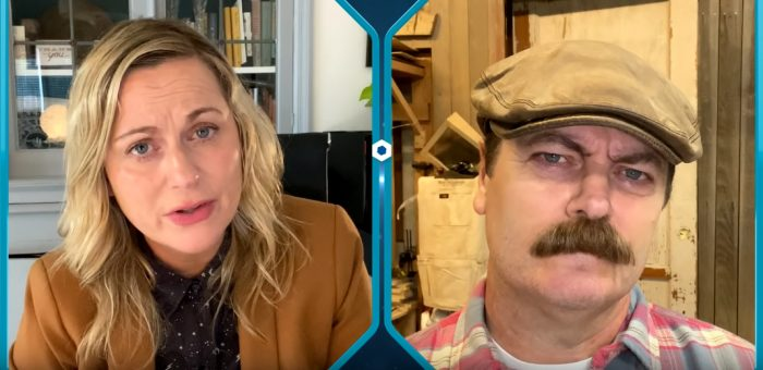 Amy Poehler and Nick Offerman in the Parks and Recreation Special