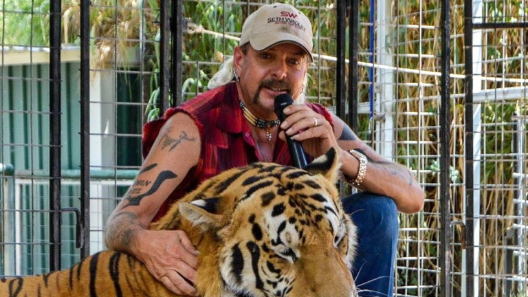 Joe Exotic (with tiger) in Netflix's Tiger King