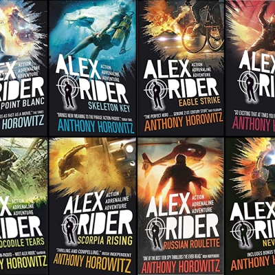 Alex Rider book covers composite