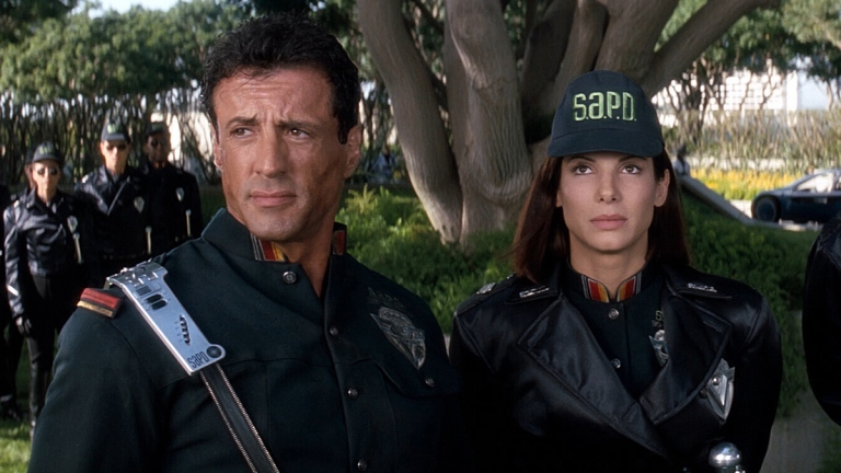 Sylvester Stallone and Sandra Bullock in Demolition Man