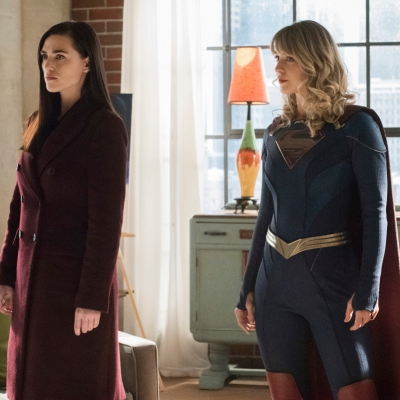 Katie McGrath as Lena Luthor and Melissa Benoist as Kara Danvers/Supergirl
