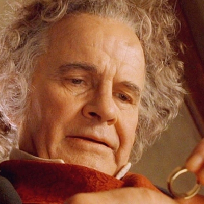 Ian Holm as Bilbo Baggins in The Lord of the Rings: Fellowship of the Ring