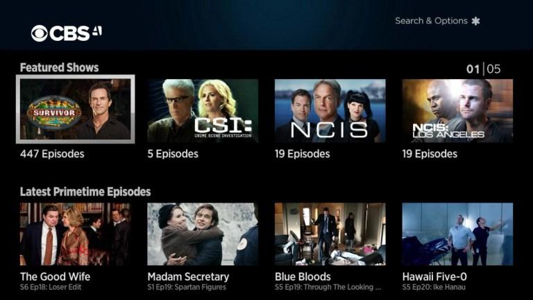 CBS All Access home screen
