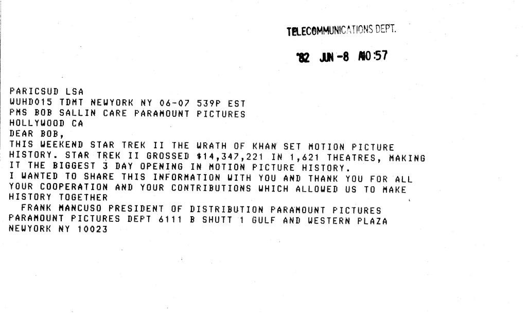 Telegram from Paramount to Robert Sallin