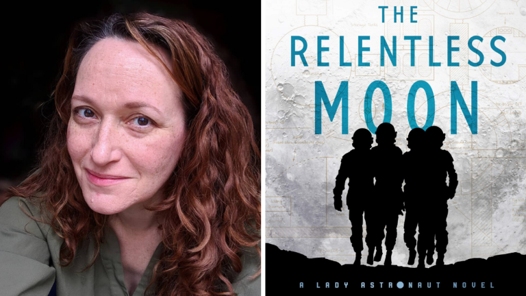 A picture of author Mary Robinette Kowal and the cover of her book The Relentless Moon