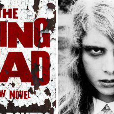 A Screenshot From The Night of the Living Dead and the Cover for The Living Dead Novel