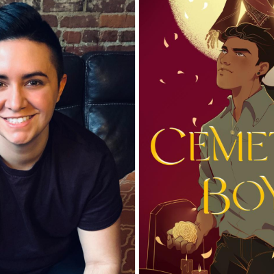 Author Aiden Thomas and the Cover of Cemetery Boys