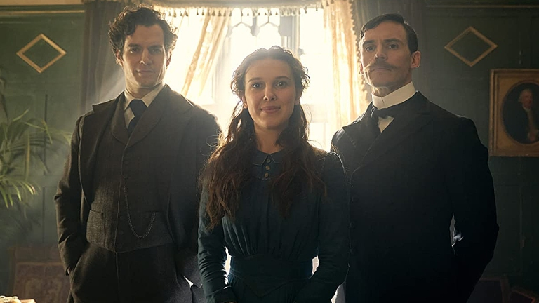 Henry Cavill, Millie Bobby Brown and Sam Claflin in Enola Holmes