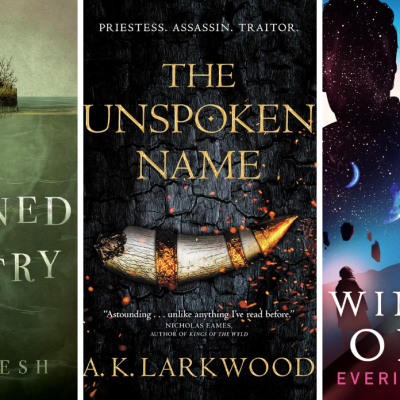 The Covers For Drowned Country, The Unspoken Name, and Winter's Orbit