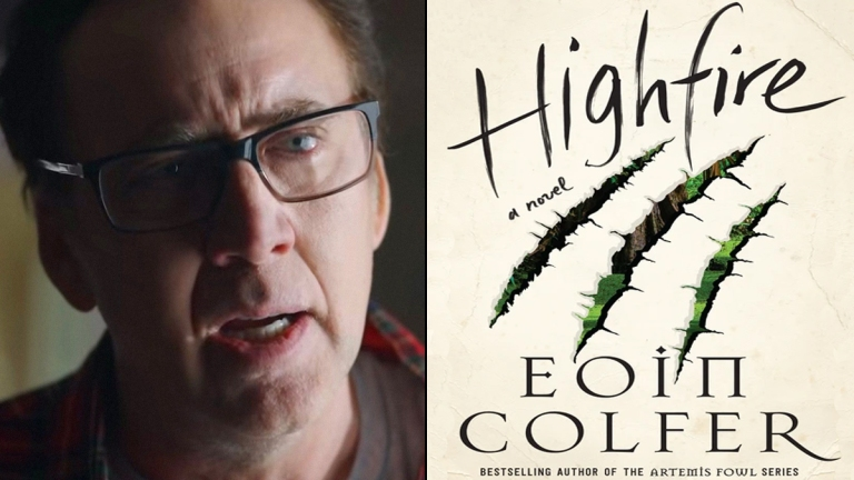 Nicolas Cage in Color Out of Space; Highfire by Eoin Colfer book cover