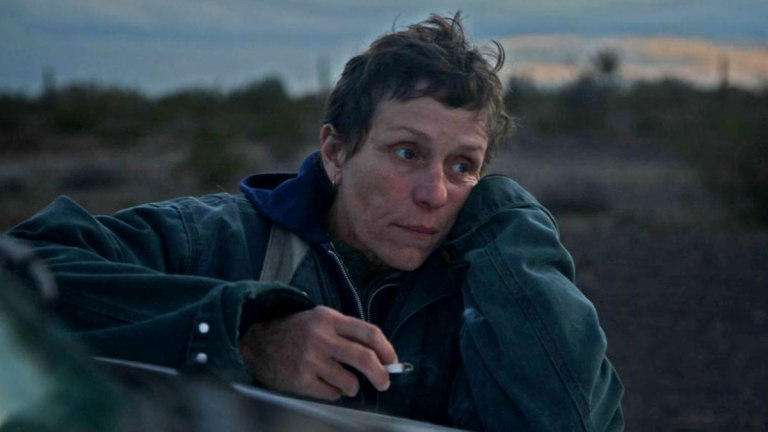 Frances McDormand in the Desert in Nomadland
