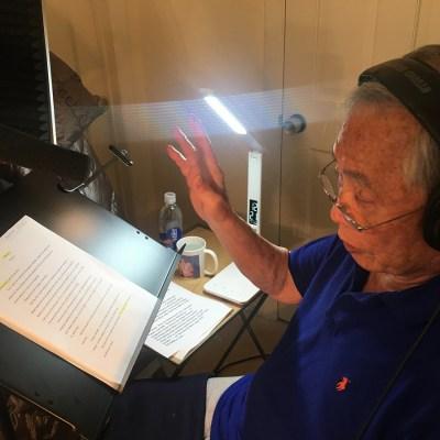 George Takei in his home recording studio