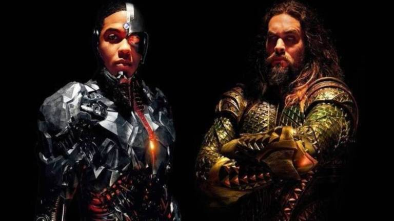 Ray Fisher as Cyborg and Jason Momoa as Aquaman in Justice League
