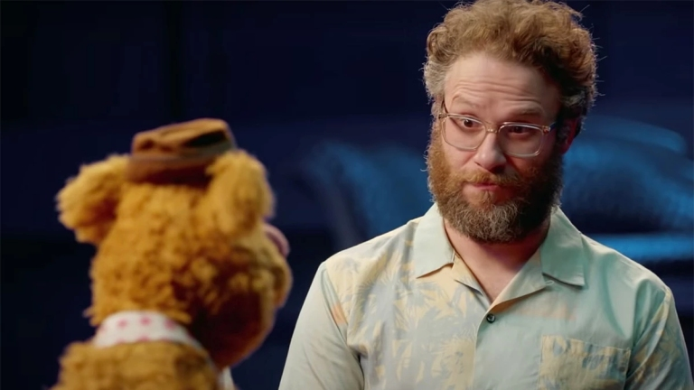 Fozzie interviewed Seth Rogen on Muppets Now