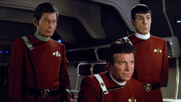 DeForest Kelley, William Shatner and Leonard Nimoy in Star Trek II: The Wrath of Khan
