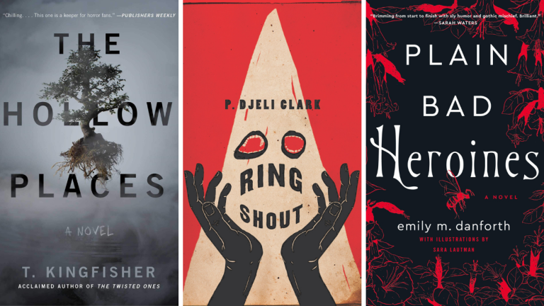 The Book Covers for The Hollow Places, Ring Shout, and Plain Bad Heroines