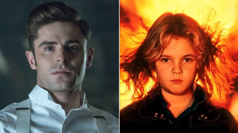 Zac Efron in The Greatest Showman; Drew Barrymore in Firestarter