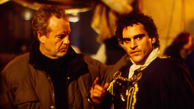 Ridley Scott and Joaquin Phoenix on Gladiator Set