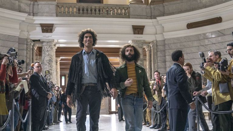 Sacha Baron Cohen and Jeremy Strong in Aaron Sorkin's The Trial of the Chicago 7