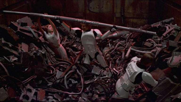 Trash compactor scene in Star Wars