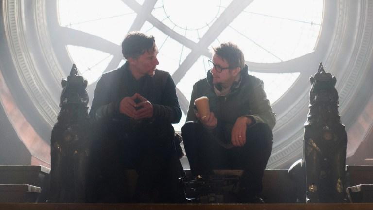 Benedict Cumberbatch and Scott Derrickson on the set of Doctor Strange