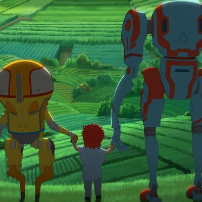 Two Robots Hold the Hands of a Human Child in Netflix's Eden