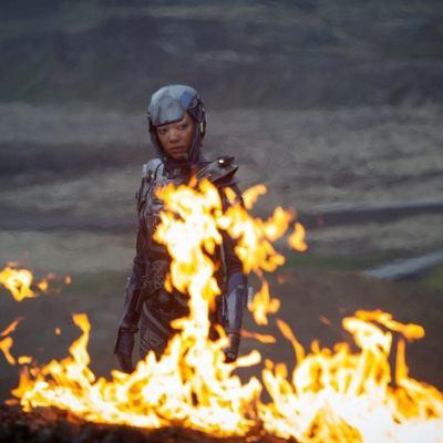 Michael Burnham stares into the fire in Star Trek: Discovery Season 3