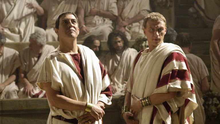 Ciaran Hinds as Caesar and Kevin McKidd in Rome