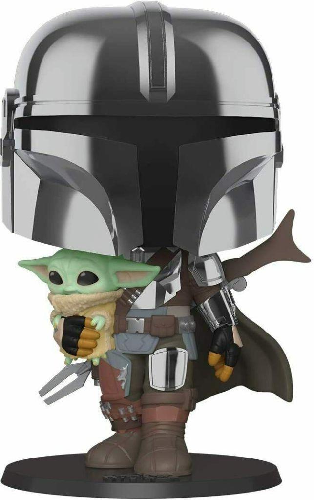 "Funko POP!: Star Wars: The Mandalorian: 10"" Chrome Mandalorian with The Child"