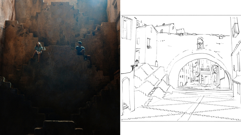 Cittàgazze's Escher-inspired steps and concept sketch